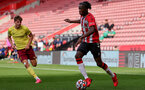 SOUTHAMPTON, ENGLAND - SEPTEMBER 19: Kegs Chauke(R) of Southampton during the Premier League 2 match between Southampton B Team and Burnley at St Mary's Stadium on September 19, 2021 in Southampton, England. (Photo by Isabelle Field/Southampton FC via Getty Images)