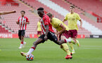 SOUTHAMPTON, ENGLAND - SEPTEMBER 19: Kazeem Olaigbe of Southampton during the Premier League 2 match between Southampton B Team and Burnley at St Mary's Stadium on September 19, 2021 in Southampton, England. (Photo by Isabelle Field/Southampton FC via Getty Images)