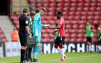 SOUTHAMPTON, ENGLAND - SEPTEMBER 19: Oliver Wright(L) of Southampton comes on for Remello Mitchell(R) of Southampton during the Premier League 2 match between Southampton B Team and Burnley at St Mary's Stadium on September 19, 2021 in Southampton, England. (Photo by Isabelle Field/Southampton FC via Getty Images)