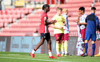 SOUTHAMPTON, ENGLAND - SEPTEMBER 19: Kegs Chauke(L) of Southampton during the Premier League 2 match between Southampton B Team and Burnley at St Mary's Stadium on September 19, 2021 in Southampton, England. (Photo by Isabelle Field/Southampton FC via Getty Images)