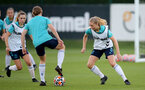 SOUTHAMPTON, ENGLAND - SEPTEMBER 22: Kelly Snook(R) during Southampton Women's training at Staplewood Training Ground on September 22, 2021 in Southampton, England. (Photo by Isabelle Field/Southampton FC via Getty Images)