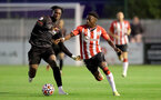 SOUTHAMPTON, ENGLAND - SEPTEMBER 23: Kazeem Olaigbe(R) of Southampton during the Premier League Cup match between Southampton B Team and West Bromwich Albion at Snows Stadium on September 23, 2021 in Southampton, England. (Photo by Isabelle Field/Southampton FC via Getty Images)