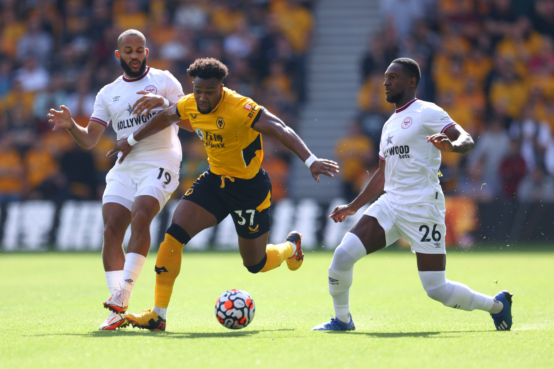 WOLVERHAMPTON, ENGLAND - SEPTEMBER 18: Adama Traore of Wolverhampton Wanderers is challenged by Bryan Mbeumo and Shandon Baptiste of Brentford during the Premier League match between Wolverhampton Wanderers and Brentford at Molineux on September 18, 2021 in Wolverhampton, England. (Photo by Catherine Ivill/Getty Images)