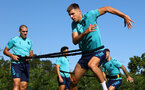 SOUTHAMPTON, ENGLAND - SEPTEMBER 24: Oriol Romeu(L) and Jan Bednarek during a Southampton FC training session at the Staplewood Campus on September 24, 2021 in Southampton, England. (Photo by Matt Watson/Southampton FC via Getty Images)