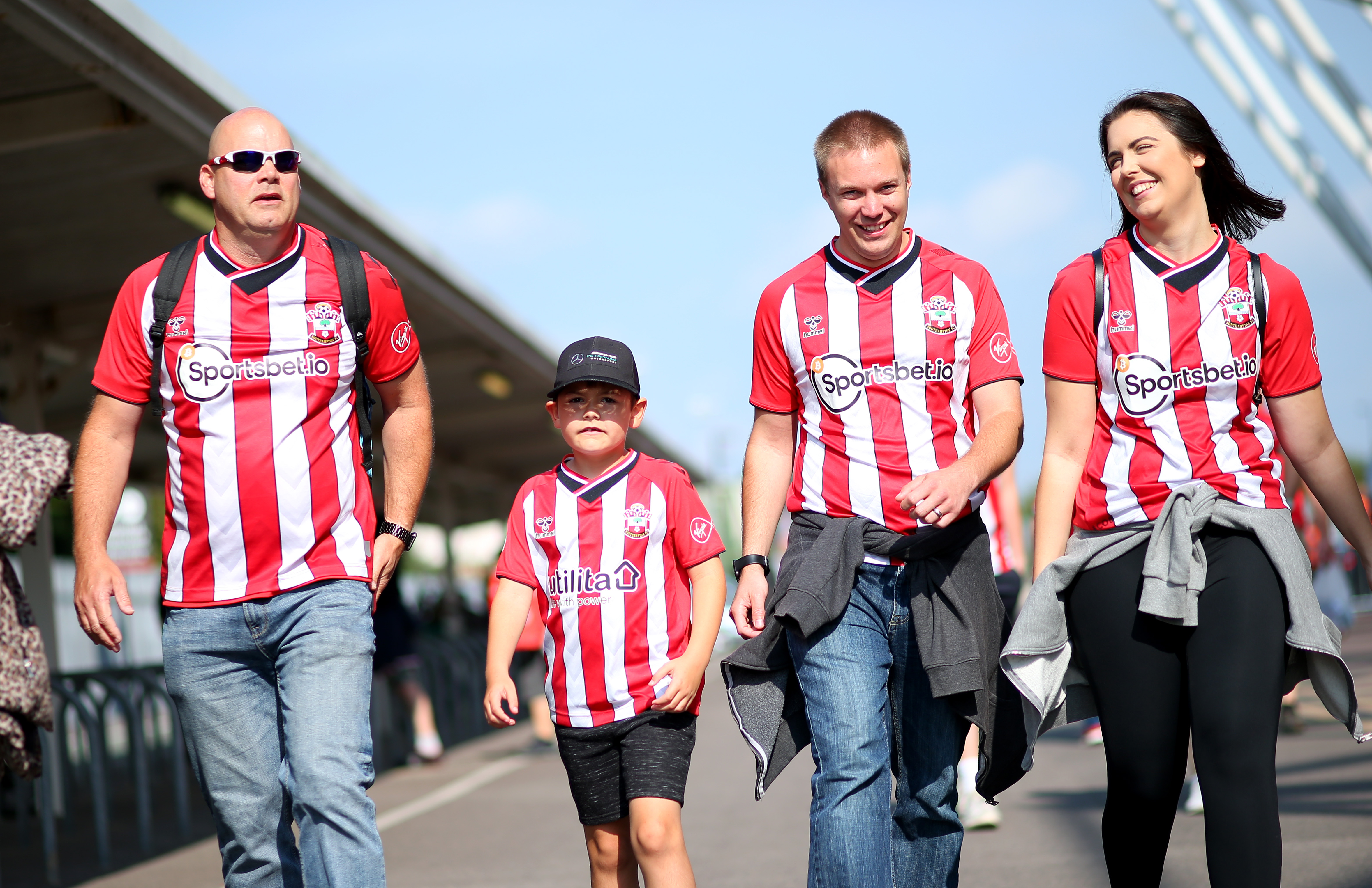 SOUTHAMPTON, ENGLAND - SEPTEMBER 26: Saints fans before the Premier League match between Southampton and Wolverhampton Wanderers at St Mary's Stadium on September 26, 2021, in Southampton, England. (Photo by Chris Moorhouse/Southampton FC via Getty Images)