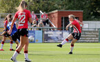 CHELTENHAM, ENGLAND - SEPTEMBER 26: Rosie Parnell(R) of Southampton during the FA National League Southern Premier match between   Southampton Women and London Bees at The Snows Stadium on September 26, 2021 in  Cheltenham, England. (Photo by Isabelle Field/Southampton FC via Getty Images)
