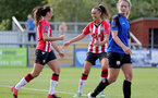 CHELTENHAM, ENGLAND - SEPTEMBER 26: Leeta Rutherford(L) of Southampton celebrates scoring with Laura Rafferty(R) of Southampton during the FA National League Southern Premier match between   Southampton Women and London Bees at The Snows Stadium on September 26, 2021 in  Cheltenham, England. (Photo by Isabelle Field/Southampton FC via Getty Images)