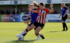 CHELTENHAM, ENGLAND - SEPTEMBER 26: Georgie Freeland(R) of Southampton during the FA National League Southern Premier match between   Southampton Women and London Bees at The Snows Stadium on September 26, 2021 in  Cheltenham, England. (Photo by Isabelle Field/Southampton FC via Getty Images)