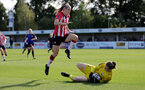 CHELTENHAM, ENGLAND - SEPTEMBER 26: Ella Pusey(L) of Southampton during the FA National League Southern Premier match between   Southampton Women and London Bees at The Snows Stadium on September 26, 2021 in  Cheltenham, England. (Photo by Isabelle Field/Southampton FC via Getty Images)
