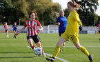 CHELTENHAM, ENGLAND - SEPTEMBER 26: Molly Mott(L) of Southampton during the FA National League Southern Premier match between   Southampton Women and London Bees at The Snows Stadium on September 26, 2021 in  Cheltenham, England. (Photo by Isabelle Field/Southampton FC via Getty Images)