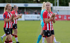 CHELTENHAM, ENGLAND - SEPTEMBER 26: Caitlin Morris(R) of Southampton during the FA National League Southern Premier match between   Southampton Women and London Bees at The Snows Stadium on September 26, 2021 in  Cheltenham, England. (Photo by Isabelle Field/Southampton FC via Getty Images)