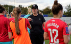 CHELTENHAM, ENGLAND - SEPTEMBER 26: Marieanne Spacey-Cale Southampton Women's team head coach during the FA National League Southern Premier match between   Southampton Women and London Bees at The Snows Stadium on September 26, 2021 in  Cheltenham, England. (Photo by Isabelle Field/Southampton FC via Getty Images)