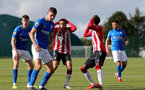 BIRMINGHAM, ENGLAND - SEPTEMBER 27: Jayden Smith of Southampton and Remello Mitchell of Southampton during the Premier League 2 match between Birmingham City and Southampton B Team at Wast Hills Training Ground on September 27, 2021 in Birmingham , England. (Photo by Isabelle Field/Southampton FC via Getty Images)