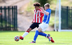 BIRMINGHAM, ENGLAND - SEPTEMBER 27: Kamari Doyle(L) of Southampton during the Premier League 2 match between Birmingham City and Southampton B Team at Wast Hills Training Ground on September 27, 2021 in Birmingham , England. (Photo by Isabelle Field/Southampton FC via Getty Images)