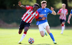 BIRMINGHAM, ENGLAND - SEPTEMBER 27: Kazeem Olaigbe(L) of Southampton during the Premier League 2 match between Birmingham City and Southampton B Team at Wast Hills Training Ground on September 27, 2021 in Birmingham , England. (Photo by Isabelle Field/Southampton FC via Getty Images)