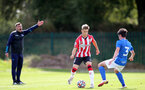 BIRMINGHAM, ENGLAND - SEPTEMBER 27: Lewis Payne(L) of Southampton during the Premier League 2 match between Birmingham City and Southampton B Team at Wast Hills Training Ground on September 27, 2021 in Birmingham , England. (Photo by Isabelle Field/Southampton FC via Getty Images)