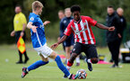 BIRMINGHAM, ENGLAND - SEPTEMBER 27: Joshua Lett(R) of Southampton during the Premier League 2 match between Birmingham City and Southampton B Team at Wast Hills Training Ground on September 27, 2021 in Birmingham , England. (Photo by Isabelle Field/Southampton FC via Getty Images)