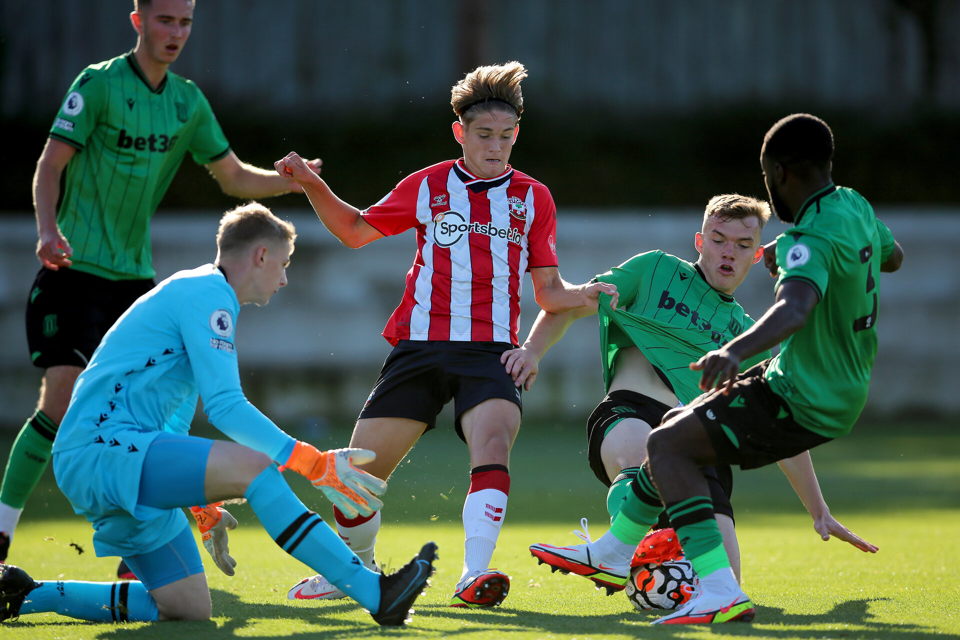 SOUTHAMPTON, ENGLAND - OCTOBER 01:  during the Premier League 2 match between Southampton B Team and Stoke City at Staplewood Training Ground on October 01, 2021 in Southampton, England. (Photo by Isabelle Field/Southampton FC via Getty Images)