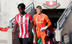 SOUTHAMPTON, ENGLAND - OCTOBER 01: Kegs Chauke of Southampton during the Premier League 2 match between Southampton B Team and Stoke City at Staplewood Training Ground on October 01, 2021 in Southampton, England. (Photo by Isabelle Field/Southampton FC via Getty Images)
