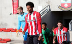 SOUTHAMPTON, ENGLAND - OCTOBER 01: Oludare Olufunwa(L) of Southampton during the Premier League 2 match between Southampton B Team and Stoke City at Staplewood Training Ground on October 01, 2021 in Southampton, England. (Photo by Isabelle Field/Southampton FC via Getty Images)