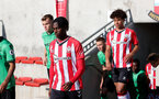 SOUTHAMPTON, ENGLAND - OCTOBER 01: Zuriel Otseh-Taiwo(L) of Southampton during the Premier League 2 match between Southampton B Team and Stoke City at Staplewood Training Ground on October 01, 2021 in Southampton, England. (Photo by Isabelle Field/Southampton FC via Getty Images)