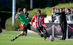 SOUTHAMPTON, ENGLAND - OCTOBER 01: Thierry Small (R) of Southampton during the Premier League 2 match between Southampton B Team and Stoke City at Staplewood Training Ground on October 01, 2021 in Southampton, England. (Photo by Isabelle Field/Southampton FC via Getty Images)