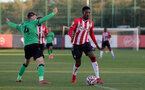 SOUTHAMPTON, ENGLAND - OCTOBER 01: Remello Mitchell(R) of Southampton during the Premier League 2 match between Southampton B Team and Stoke City at Staplewood Training Ground on October 01, 2021 in Southampton, England. (Photo by Isabelle Field/Southampton FC via Getty Images)