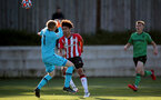 SOUTHAMPTON, ENGLAND - OCTOBER 01: Kamari Doyle(R) of Southampton during the Premier League 2 match between Southampton B Team and Stoke City at Staplewood Training Ground on October 01, 2021 in Southampton, England. (Photo by Isabelle Field/Southampton FC via Getty Images)