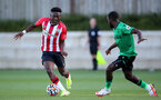 SOUTHAMPTON, ENGLAND - OCTOBER 01: Kazeem Olaigbe(L) of Southampton during the Premier League 2 match between Southampton B Team and Stoke City at Staplewood Training Ground on October 01, 2021 in Southampton, England. (Photo by Isabelle Field/Southampton FC via Getty Images)