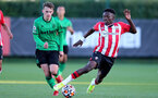 SOUTHAMPTON, ENGLAND - OCTOBER 01: Kazeem Olaigbe(R) of Southampton during the Premier League 2 match between Southampton B Team and Stoke City at Staplewood Training Ground on October 01, 2021 in Southampton, England. (Photo by Isabelle Field/Southampton FC via Getty Images)
