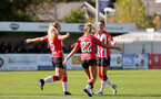 SOUTHAMPTON, ENGLAND - OCTOBER 03: Laura Rafferty of Southampton goal celebration during the FA National League Southern Premier match between Southampton Women and Keynsham Town at The Snows Stadium on October 03, 2021 in Southampton, England. (Photo by Isabelle Field/Southampton FC via Getty Images)