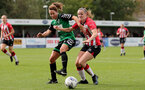 SOUTHAMPTON, ENGLAND - OCTOBER 03: Ella Pusey(R) of Southampton during the FA National League Southern Premier match between Southampton Women and Keynsham Town at The Snows Stadium on October 03, 2021 in Southampton, England. (Photo by Isabelle Field/Southampton FC via Getty Images)