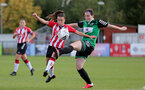 SOUTHAMPTON, ENGLAND - OCTOBER 03: Sophia Pharoah(L) of Southampton during the FA National League Southern Premier match between Southampton Women and Keynsham Town at The Snows Stadium on October 03, 2021 in Southampton, England. (Photo by Isabelle Field/Southampton FC via Getty Images)