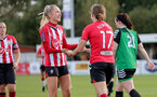 SOUTHAMPTON, ENGLAND - OCTOBER 03: Phoebe Williams(L) of Southampton congratulates Lucia Kendall(R) of Southampton on scoring during the FA National League Southern Premier match between Southampton Women and Keynsham Town at The Snows Stadium on October 03, 2021 in Southampton, England. (Photo by Isabelle Field/Southampton FC via Getty Images)