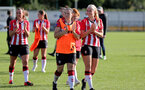 SOUTHAMPTON, ENGLAND - OCTOBER 03: Southampton players clap the fans at the end of the FA National League Southern Premier match between Southampton Women and Keynsham Town at The Snows Stadium on October 03, 2021 in Southampton, England. (Photo by Isabelle Field/Southampton FC via Getty Images)