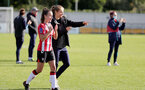 SOUTHAMPTON, ENGLAND - OCTOBER 03: Sophia Pharoah(L) of Southampton and Katie Rood(R) of Southampton during the FA National League Southern Premier match between Southampton Women and Keynsham Town at The Snows Stadium on October 03, 2021 in Southampton, England. (Photo by Isabelle Field/Southampton FC via Getty Images)