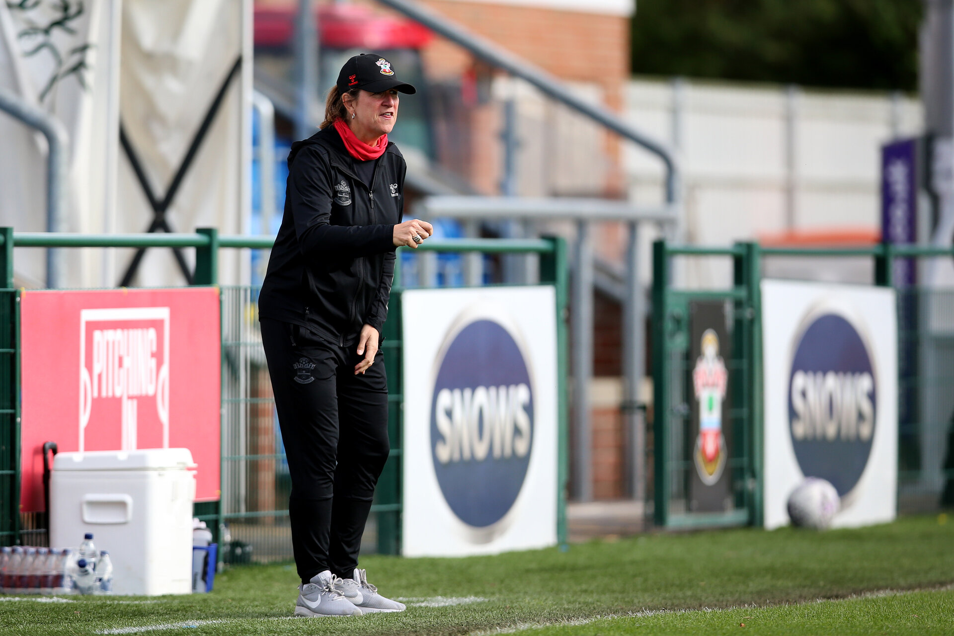 SOUTHAMPTON, ENGLAND - OCTOBER 03:  Marieanne Spacey-Cale Southampton Women's head coach  during the FA National League Southern Premier match between Southampton Women and Keynsham Town at The Snows Stadium on October 03, 2021 in Southampton, England. (Photo by Isabelle Field/Southampton FC via Getty Images)