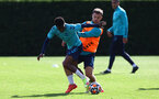 SOUTHAMPTON, ENGLAND - OCTOBER 05: Kyle Walker-Peters(L) Adam Armstrong during a Southampton FC training session at the Staplewood Campus on October 05, 2021 in Southampton, England. (Photo by Matt Watson/Southampton FC via Getty Images)