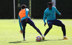 SOUTHAMPTON, ENGLAND - OCTOBER 05: Kyle Walker-Peters(L) and Mohammed Salisu during a Southampton FC training session at the Staplewood Campus on October 05, 2021 in Southampton, England. (Photo by Matt Watson/Southampton FC via Getty Images)