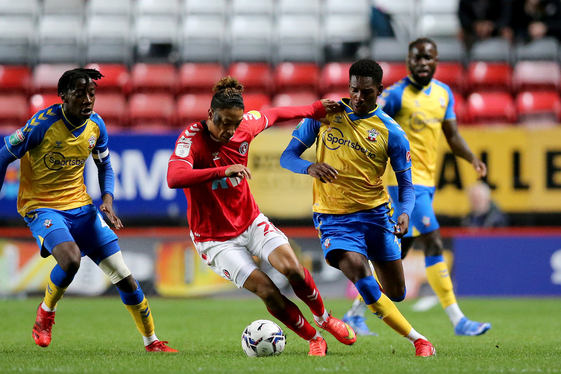 LONDON, ENGLAND - OCTOBER 06:  during the Papa John's Trophy match between Charlton Athletic and Southampton B Team at The Valley on October 06, 2021 in London, England. (Photo by Isabelle Field/Southampton FC via Getty Images)