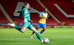 LONDON, ENGLAND - OCTOBER 06: Caleb Watts(R) of Southampton during the Papa John's Trophy match between Charlton Athletic and Southampton B Team at The Valley on October 06, 2021 in London, England. (Photo by Isabelle Field/Southampton FC via Getty Images)