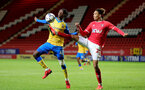 LONDON, ENGLAND - OCTOBER 06: Kegs Chauke(L) of Southampton during the Papa John's Trophy match between Charlton Athletic and Southampton B Team at The Valley on October 06, 2021 in London, England. (Photo by Isabelle Field/Southampton FC via Getty Images)