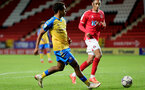 LONDON, ENGLAND - OCTOBER 06:Caleb Watts(L) of Southampton during the Papa John's Trophy match between Charlton Athletic and Southampton B Team at The Valley on October 06, 2021 in London, England. (Photo by Isabelle Field/Southampton FC via Getty Images)