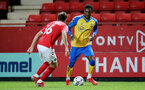 LONDON, ENGLAND - OCTOBER 06: Remello Mitchell(R) of Southampton during the Papa John's Trophy match between Charlton Athletic and Southampton B Team at The Valley on October 06, 2021 in London, England. (Photo by Isabelle Field/Southampton FC via Getty Images)