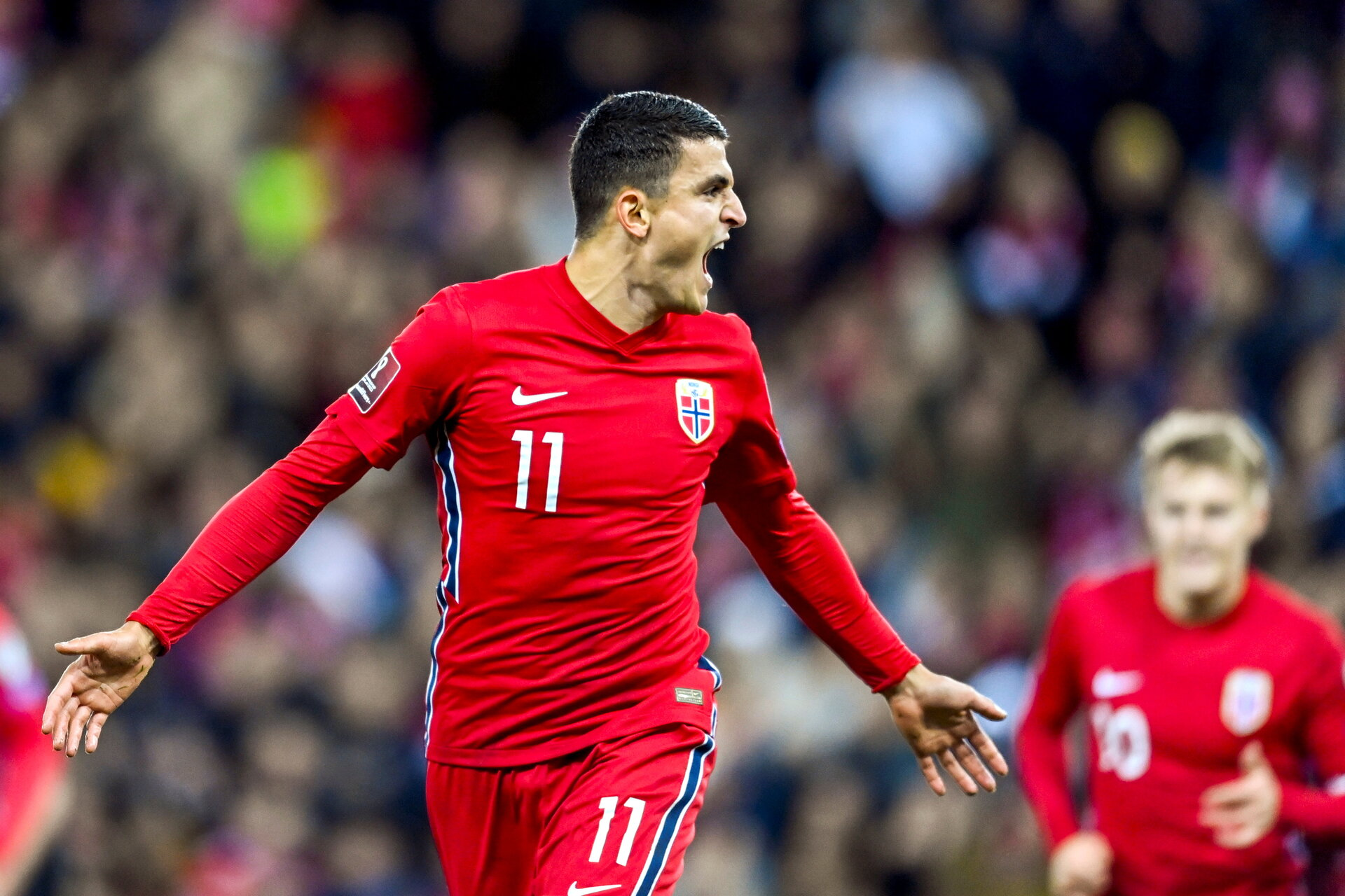 Soccer Football - World Cup - UEFA Qualifiers - Group G - Norway v Montenegro - Ullevaal Stadion, Oslo, Norway - October 11, 2021 Norway's Mohamed Elyounoussi celebrates scoring their first goal Annika Byrde/NTB via REUTERS    ATTENTION EDITORS - THIS IMAGE WAS PROVIDED BY A THIRD PARTY. NORWAY OUT. NO COMMERCIAL OR EDITORIAL SALES IN NORWAY.