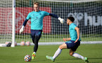SOUTHAMPTON, ENGLAND - OCTOBER 11: Jack Bycroft(L) during Southampton B Team training at Staplewood Training Ground on October 11, 2021 in Southampton, England. (Photo by Isabelle Field/Southampton FC via Getty Images)
