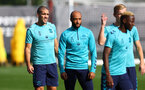 SOUTHAMPTON, ENGLAND - OCTOBER 14: Oriol Romeu(L) and Nathan Redmond(centre) during a Southampton FC training session at the Staplewood Campus on October 14, 2021 in Southampton, England. (Photo by Matt Watson/Southampton FC via Getty Images)